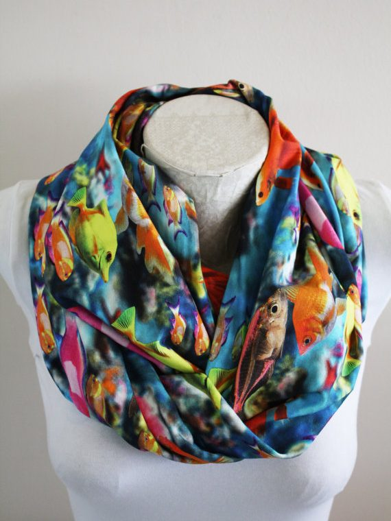Aquarium Infinity Scarf Fish Scarf Goldfish Womens Gift Fall Wİnter Fashion Accessories