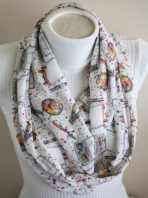Art Teacher Scarf, Gift for Artists