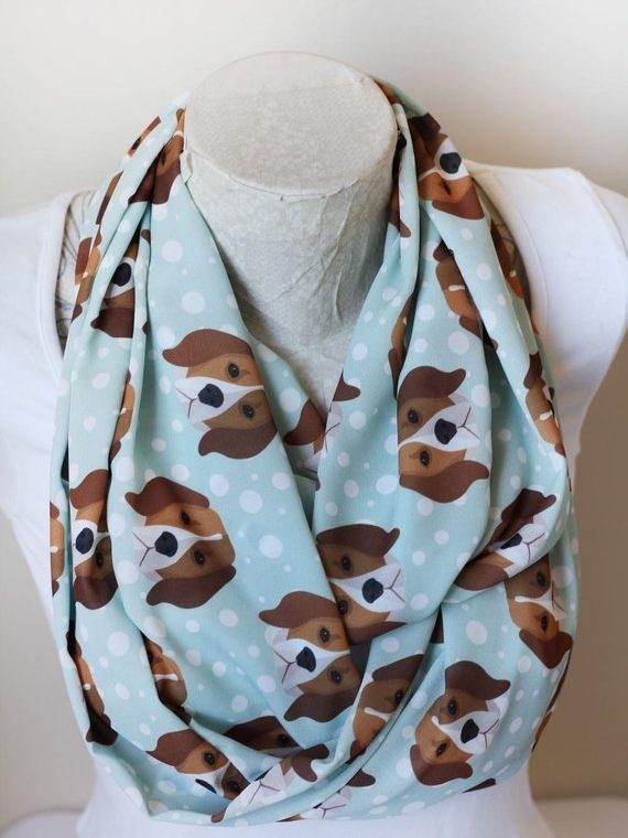 Beagle Scarf, Dog Infinity Scarf