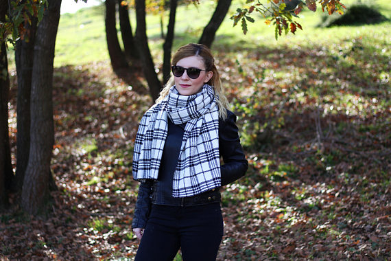 Blanket Scarf Plaid Blanket Scarf Tartan Plaid Winter Gifts for Women Fall Winter Accessories