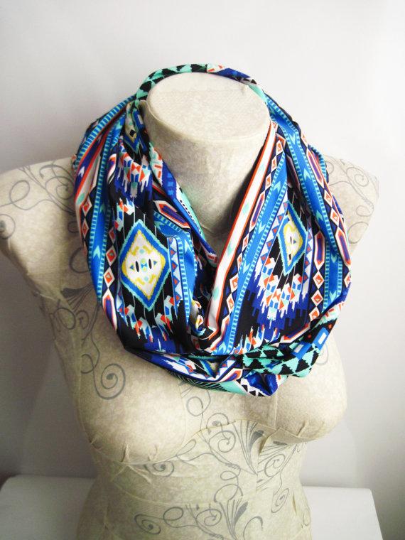 Blue Navajo Infinity Scarf , Navajo Jersey Scarf , Aztec Tribal Scarf