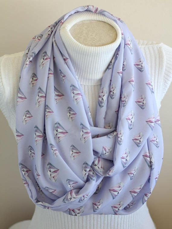 Diamond Scarf Diamond Print Infinity Scarf Anniversary Gifts for Her Engagement Gift for Couple Engagement Party Gifts
