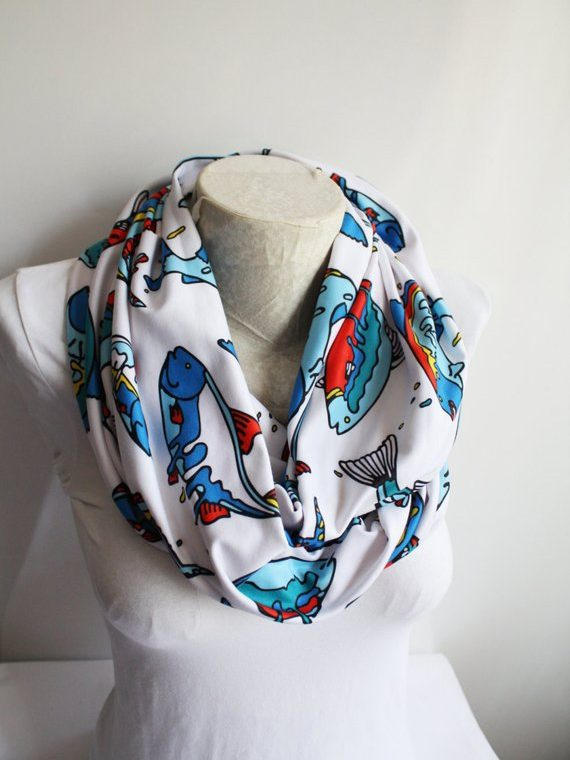 Fish Scarf ,Colorful Fishh Printed Infinity Scarf , Fashion Accessories , Gift Ideas for Her