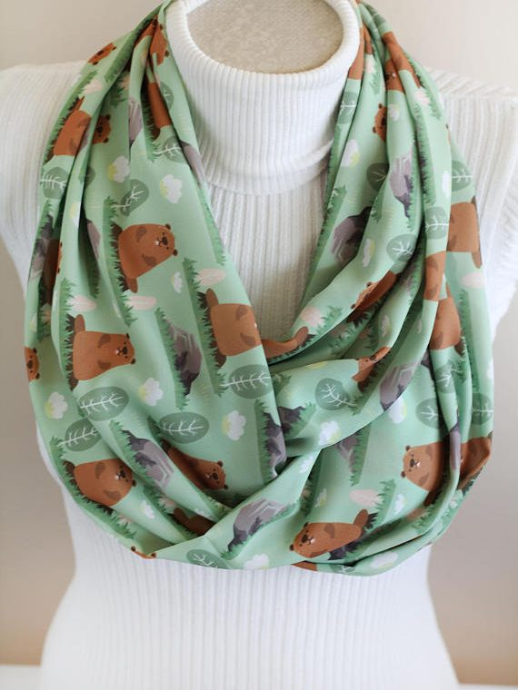Groundhog Scarf Animal Scarf Mole Infinity Scarf Groundhog Day Animal Gift Ideas Fashion Accessories Holiday Gift for Women
