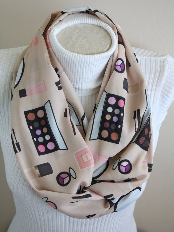 Makeup Scarf Makeup Artist Gift Makeup Mirror Infinity Scarf Cosmetics Lover Circle Scarf Women Fashion Accessories