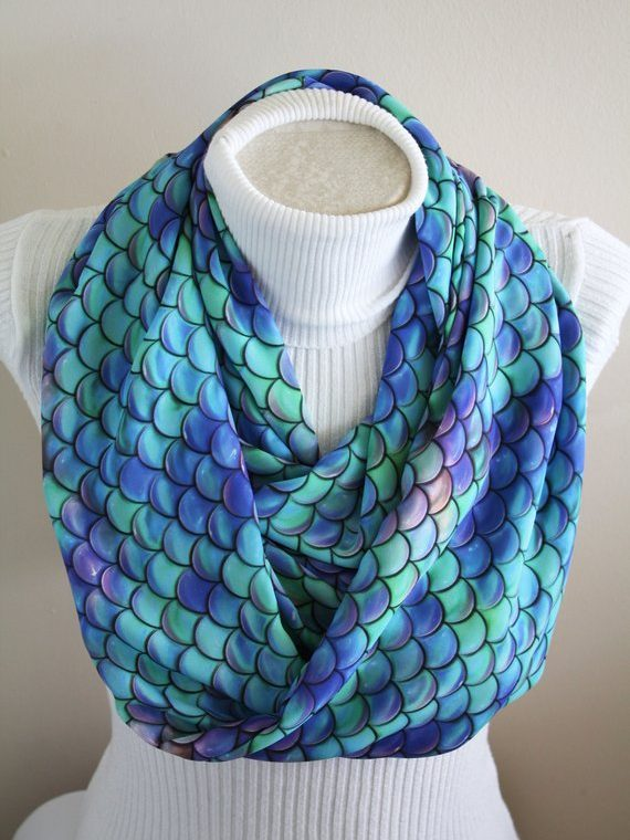 Mermaid Scarf, Mermaid Scales Infinity Scarf