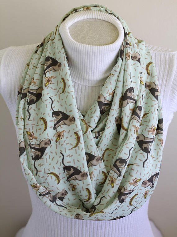 Monkey Scarf Animal Gifts Banana Infinity Scarf Monkey Party Gift Monkey Print Accessories for Women Monkey Lover Gift
