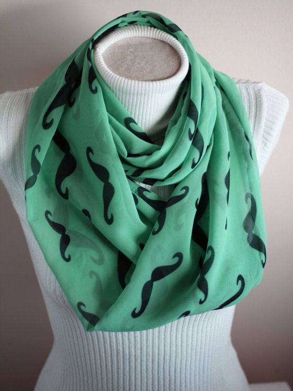 Mustache Scarf, Mustache Infinity Scarf, Hipster Scarf, Gift Ideas Fashion Accessories for Her
