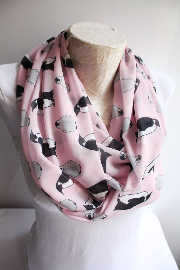 Penguin Scarf, Penguin Infinity Scarf, Ocean Animals, Fashion Scarves, Women Accessories, Gift for Her