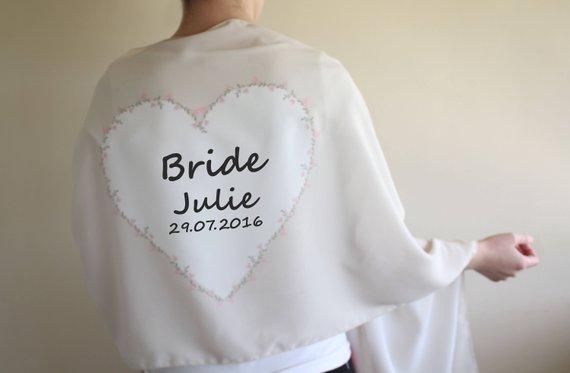 Personalized Wedding Shawl, Bridesmaid Scarf