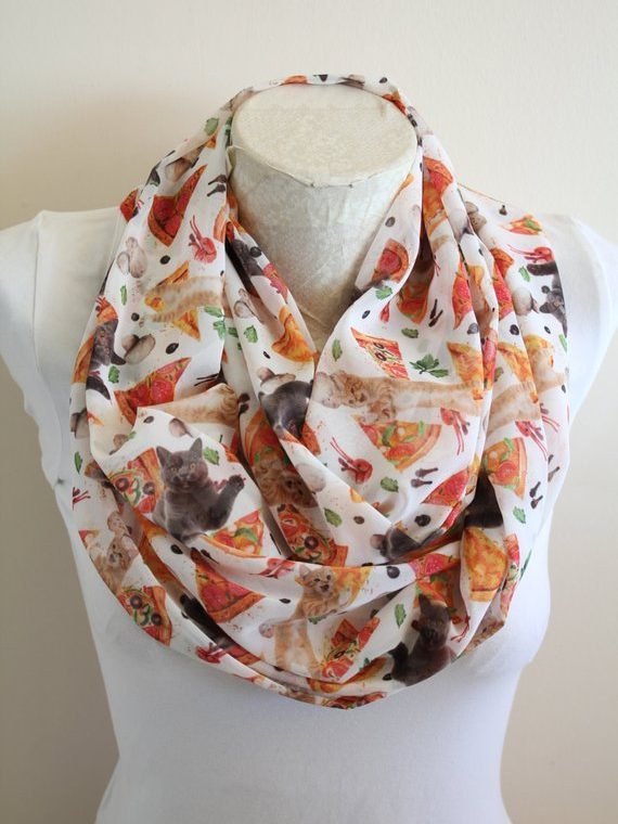 Pizza Cat Scarf, Cat Infinity Scarf