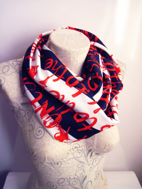 Red Handwriting Pattern Infinity scarf, Letter Print Jersey Scarf, Striped Scarf, Fashion Accessories , Circle scarf