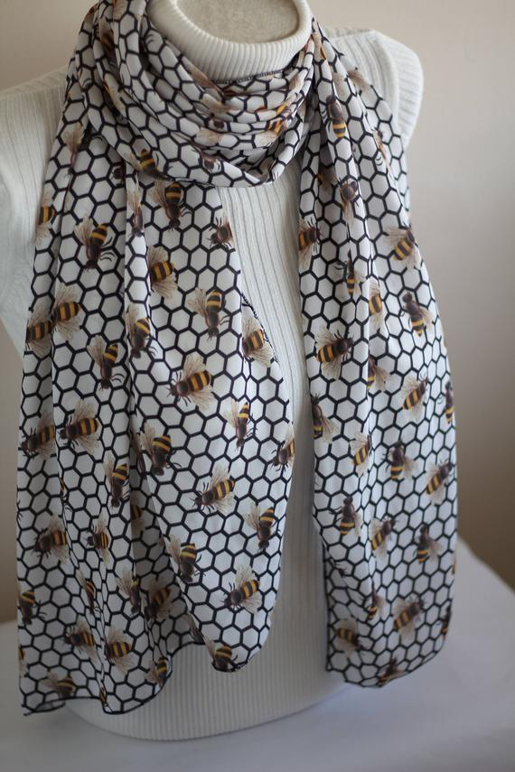 Bee Scarf Honey Bee Gifts for Girlfriend Save The Bees Queen Bee Infinity  Scarf Animal Lover Gift Vegan Clothing Women Gift Christmas