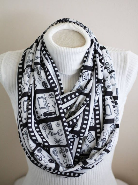 Cinema Infinity Scarf Movie Scarf Movie Lover Gift Film Strip Black and White Women Accessories Charlie Chaplin Gift Ideas for Her
