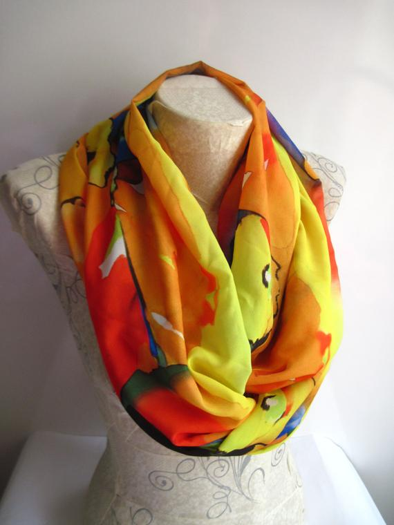 Colorful Scarf, Watercolor Infinity Scarf