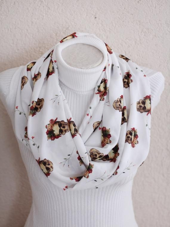 Day of The Dead Infinity Scarf Mexican Sugar Skull Scarf Dia de los Muertos Gift Ideas Women Fashion Mexican Skull Gift for Women