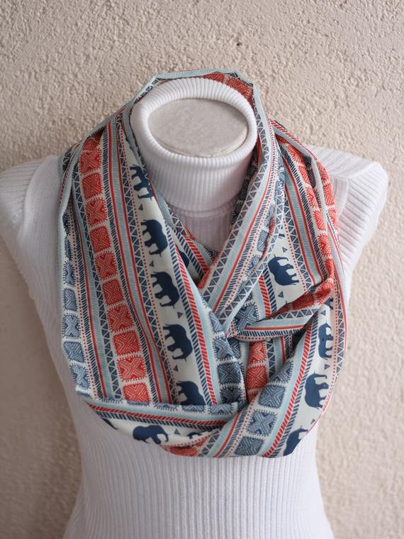 Elephant Scarf Boho Scarf Infinity Scarf Bohemian Gifts Women Fashion Gift for Her Christmas Gifts Fashion Accessories