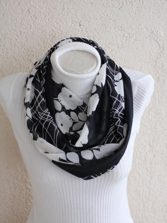 Floral Scarf Floral Gifts Mother's Day Black and White Infinity Scarf Mom Gift Women Accessories Gift for Mom Fall Fashion Scarves