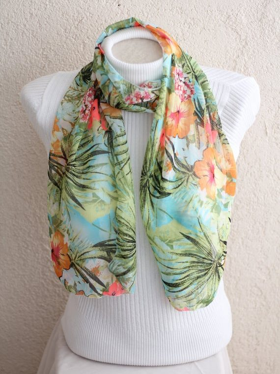 Floral Scarf, Green Scarf Mom Gift Women Fashion Floral Accessories Gift for Her