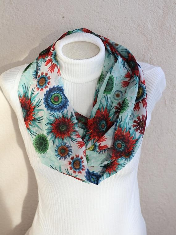 Flower Scarf Gardening Gift for Women Floral Infinity Scarf Women Accessories Gift for Mom Fashion Scarves Unique Gifts
