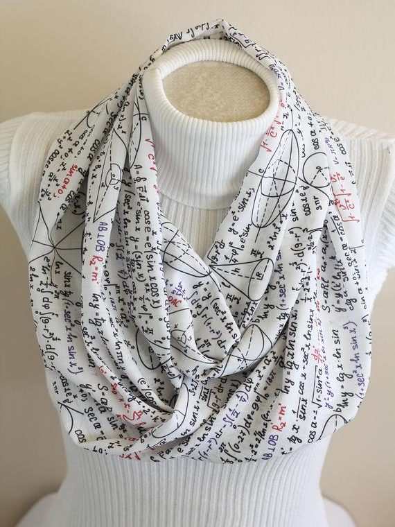 Math Teacher Infinity Scarf Math Scarf College Student Gift Geek Nerd Gift Women Accessories Teacher Gift Christmas
