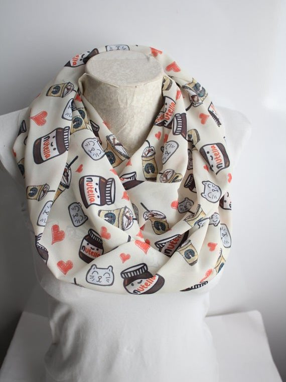 Nutella Scarf Nutella Gift Infinity Scarf Tumblr Clothing Tumblr Girl Gifts Starbucks Party Gift for Girlfriend
