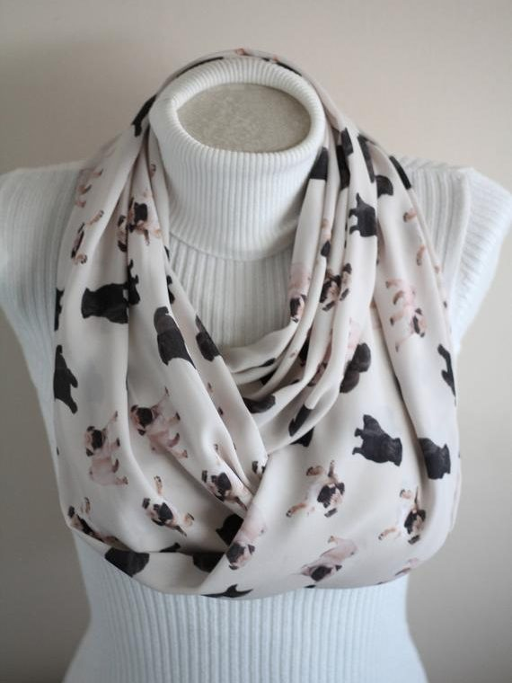 Pug Gift Black Pug Scarf Dog Lover Gift Fall Party Women Accessories Dog Christmas Gift Ideas Unique Gifts