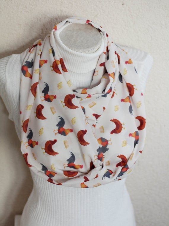 Rooster Scarf Chicken Infinity Scarf Farm Animals Farmhouse Christmas Chicken Gifts for Women Accessories