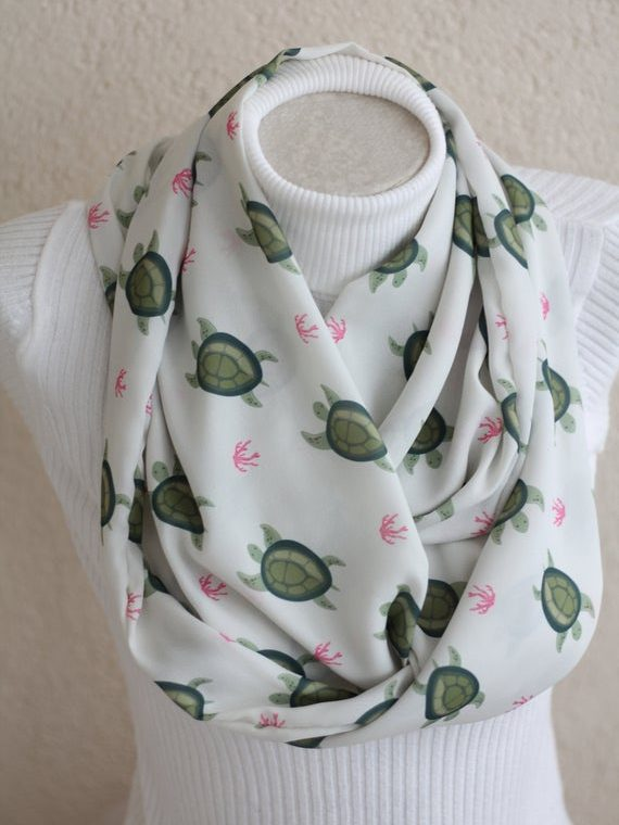 Sea Turtle Scarf Save The Ocean Infinity Scarf Sea Turtle Gifts for Women Ocean Scarf Turtle Lover Gifts Save The Planet Fashion Accessories