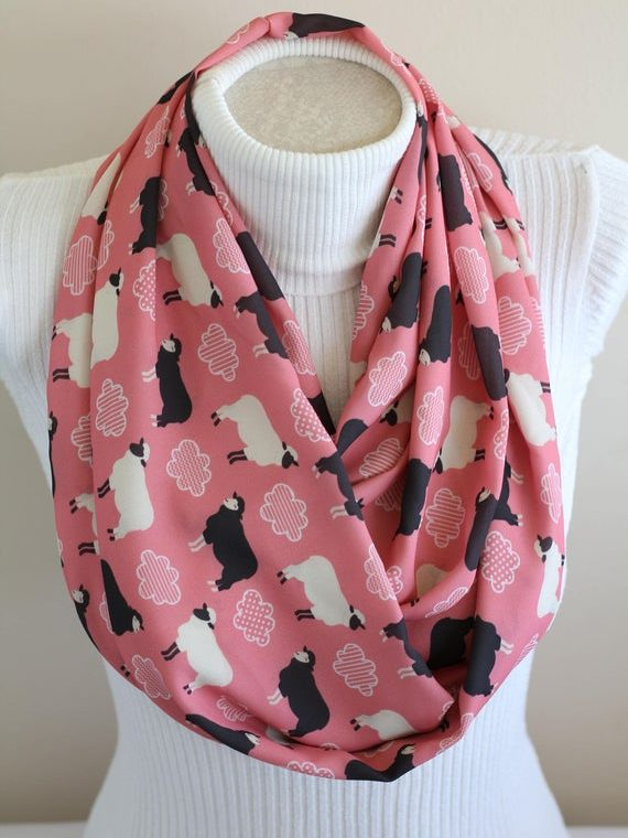Sheep Scarf Lamb Infinity Scarf Black Sheep Animal Scarf Sheep Lovers Animal Gifts Coral Pink Fashion Accessories Birthday Gift Ideas