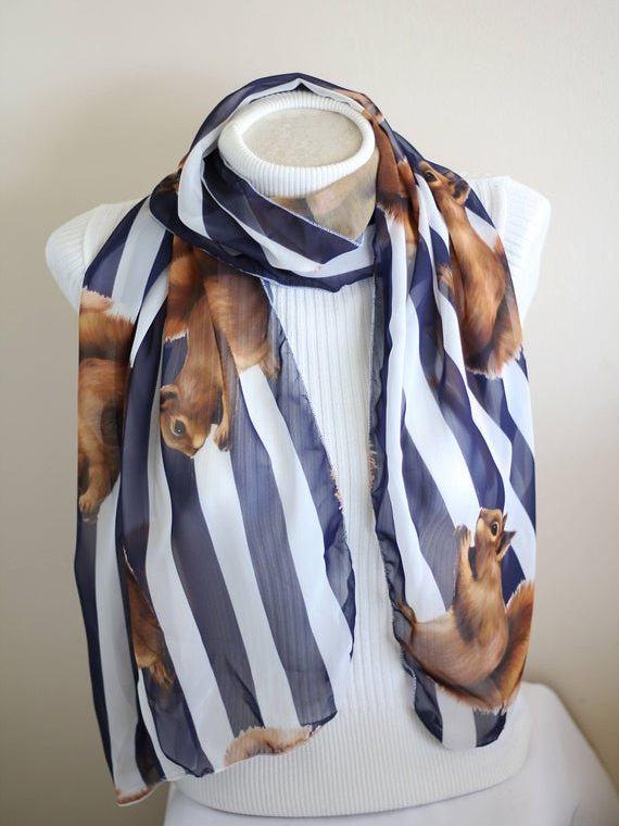 Squirrel Whisperer Squirrel Scarf Wildlife Animal Prints Gifts Nuts Squirrel Gift Accessories Striped Scarf
